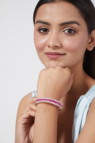 Rose Gold Finish Faux Diamond Bangles by Aster