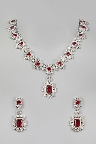 White Finish Red Stones Necklace Set by Aster