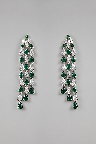 White Finish Green Stones Earrings by Aster