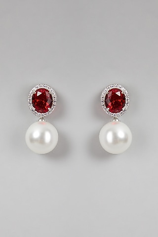 White Finish Pearls Earrings by Aster