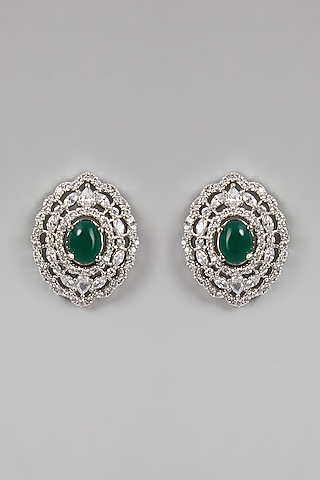 White Finish Green Stones & Faux Diamond Earrings by Aster