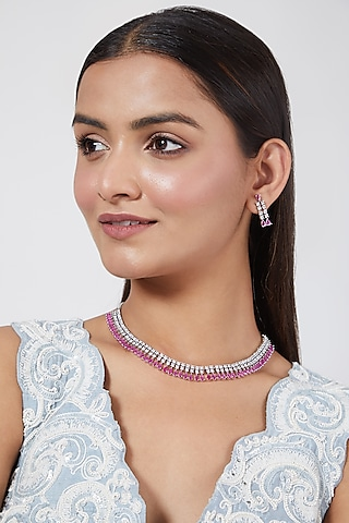 White Finish Pink Stones Necklace Set by Aster