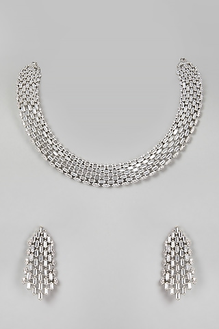 White Finish Necklace Set by Aster