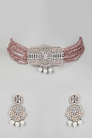 Rose Gold & White Finish Necklace Set by Aster