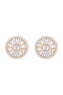 Gold Finish Faux Pearls & Kundan Stud Earrings by Aster