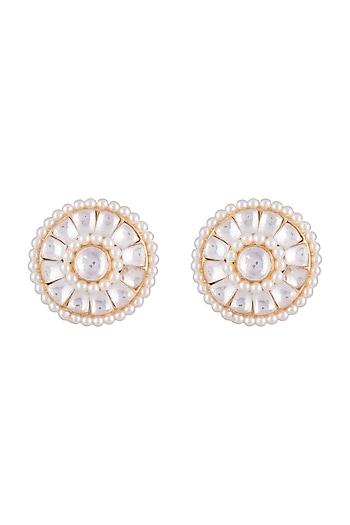 Gold Finish Faux Pearls & Kundan Stud Earrings by Aster