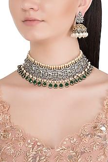 Black Rhodium Finish Faux Pearl, Diamond & Green Stone Choker Necklace Set by Aster