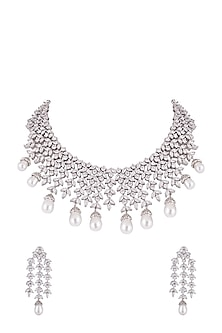 White Finish Faux Diamonds & Pearls Necklace Set by Aster