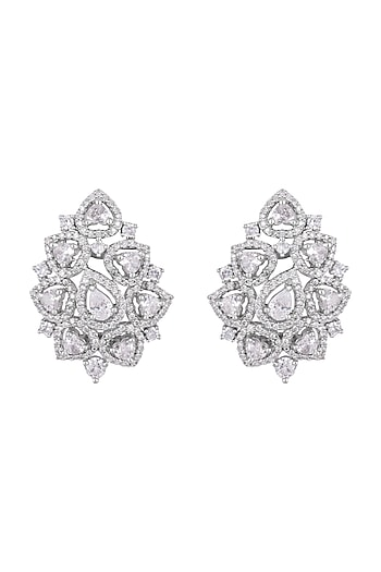 White Finish Faux Diamonds Stud Earrings by Aster