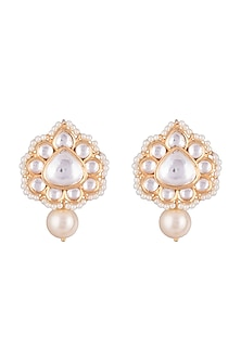 Gold Finish Faux Kundan & Pearls Earrings by Aster