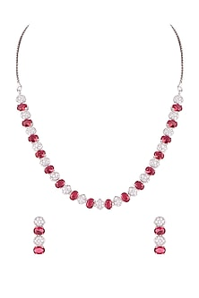 White Finish Red & White Diamond Necklace Set by Aster