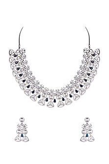 Black Rhodium Finish Diamond Necklace Set by Aster-JEWELLERY ON DISCOUNT