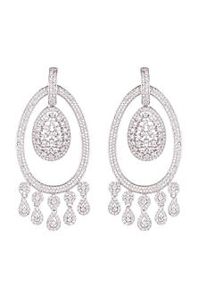 White Finish Diamond Chandbali Earrings by Aster-JEWELLERY ON DISCOUNT