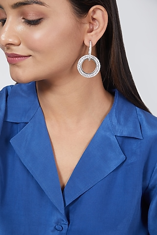 White Finish Faux Diamond Circular Earrings by Aster