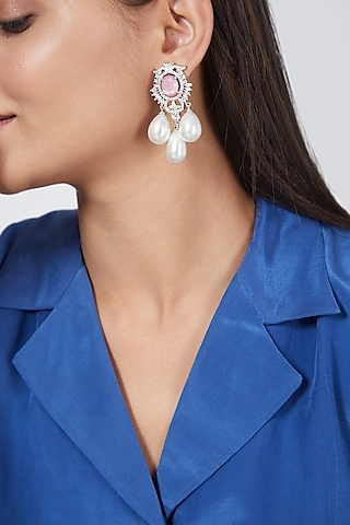 White Finish Pearl Earrings by Aster
