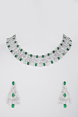 White Finish Necklace Set With Faux Diamond by Aster