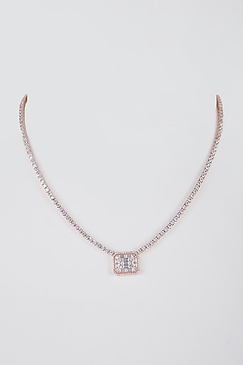 Rose Gold Finish Faux Diamond Pendant Necklace by Aster