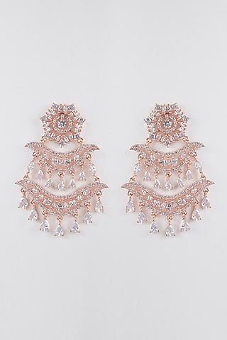 Rose Gold Finish Faux Diamond Earrings by Aster