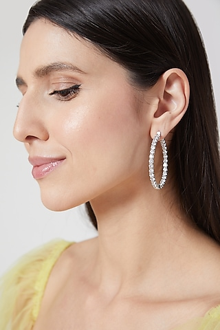 White Finish Faux Diamond Hoop Earrings by Aster