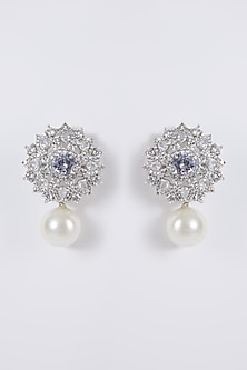 White Finish Diamond & Pearl Earrings by Aster-READY TO SHIP GIFTS