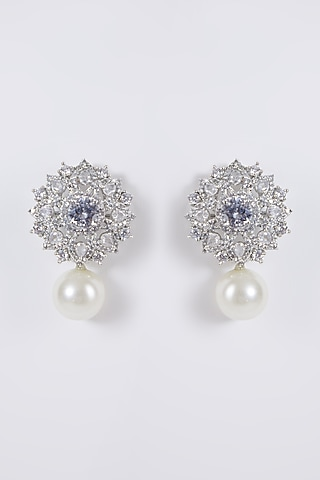 White Finish Diamond & Pearl Earrings by Aster