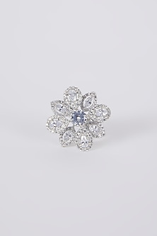 White Finish Diamond Floral Ring by Aster-POPULAR PRODUCTS AT STORE