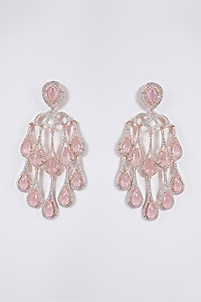 Rose Gold Finish Grey Stone & Diamond Dangler Earrings by Aster-POPULAR PRODUCTS AT STORE