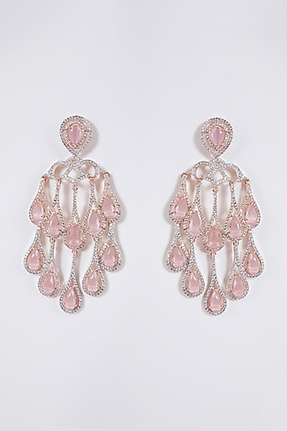 Rose Gold Finish Grey Stone & Diamond Dangler Earrings by Aster