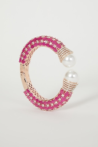 Rose Gold Finish Pearl & Diamond Bangle by Aster