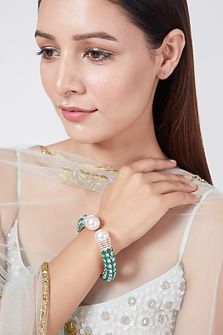 Rose Gold Finish Pearl & Diamond Stretchable Bangle by Aster