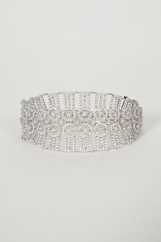 White Finish Faux Diamond Bangle by Aster