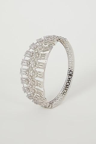 White Finish Faux Diamond Bangle by Aster