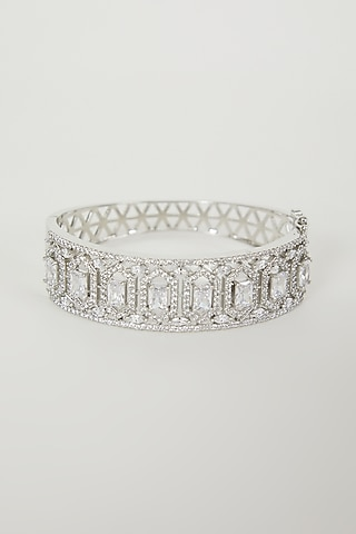 White Finish Diamond Bangle by Aster