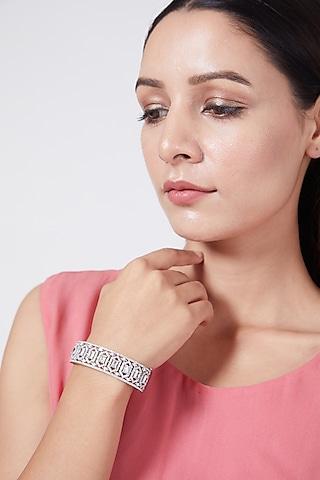 White Finish Diamond Bangle by Aster