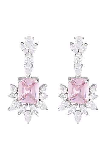 White Finish Faux Diamond & Pink Stone Earrings by Aster