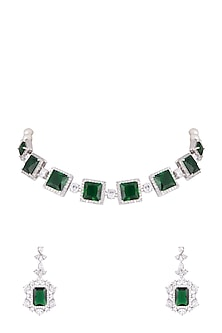 White Finish Faux Pearl, Diamond & Green Stone Choker Necklace Set With Ring by Aster