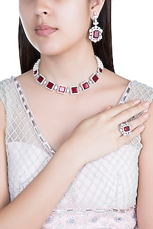 White Finish Faux Pearl, Diamond & Red Stone Choker Necklace Set With Ring by Aster