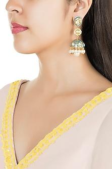 Gold Finish Enamled Faux Pearl & Kundan Jhumka Earrings by Aster