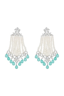 White Finish Faux Pearl Strands, Turquoise Drops & Kundan Long Dangler Earrings by Aster