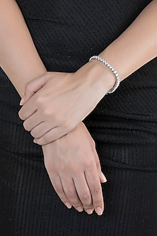 White Finish Faux Diamonds Bracelet by Aster