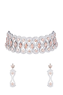 White Finish Faux Diamonds & Champagne Stones Choker Set by Aster-JEWELLERY ON DISCOUNT