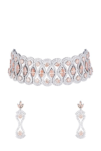 White Finish Faux Diamonds & Champagne Stones Choker Set by Aster