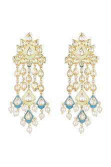 Gold Finish Faux Kundan & Pearls Enameled Earrings by Aster