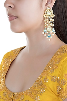 Gold Finish Faux Kundan & Pearls Enameled Earrings by Aster