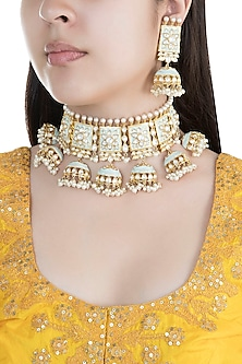 Gold Finish Faux Pearls & Kundan Blue Enamelled Choker Set by Aster
