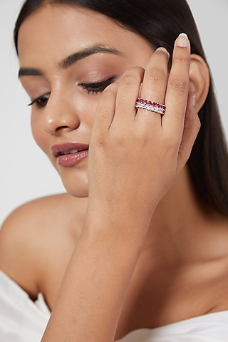 White Finish Red Faux Diamond Ring by Aster