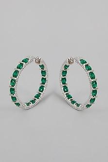 White Finish Faux Diamond Hoop Earrings by Aster