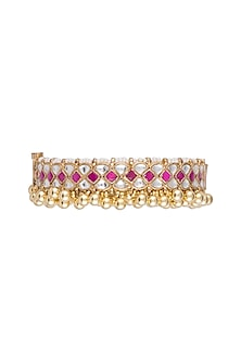 Gold Finish Red Stone & Kundan Bangles by Aster