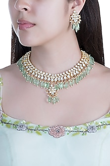Gold Finish Faux Pearls, Kundan & Mint Green Drop Necklace Set by Aster