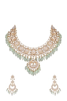 Gold Finish Faux Pearls, Kundan & Green Bead Choker Necklace Set by Aster-JEWELLERY ON DISCOUNT